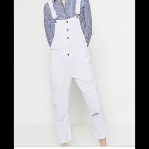 Zara white distressed overalls